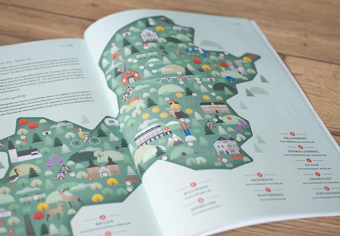 Illustrierte Übersichtskarte der Sauerland Seelenorte