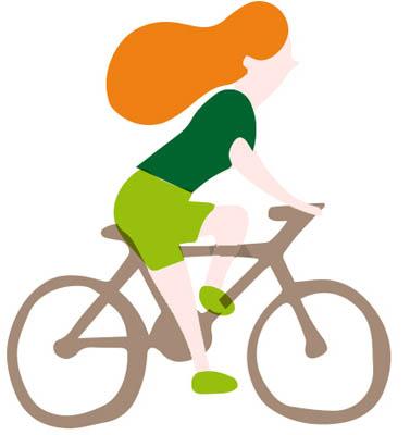 Auszeit Momente Magazin: Illustration Radfahrerin