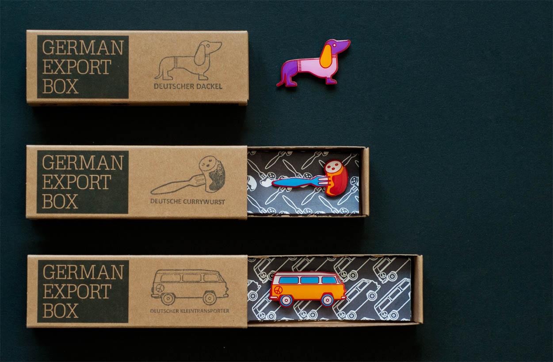 German Export Box: Produktübersicht (Dackel, Currywurst und Transporter)