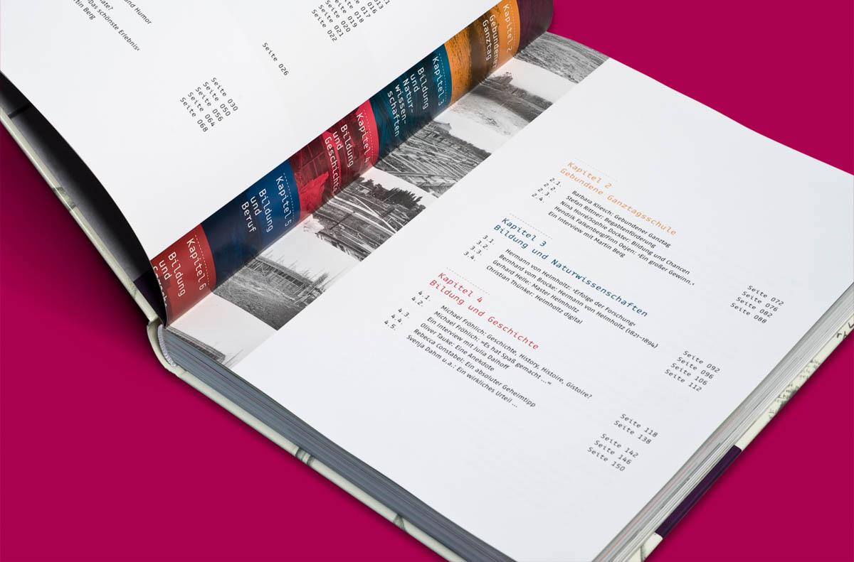 Editorialdesign: Festschrift Helmholtz Gymnasium Bonn, Inhaltsverzeichnis