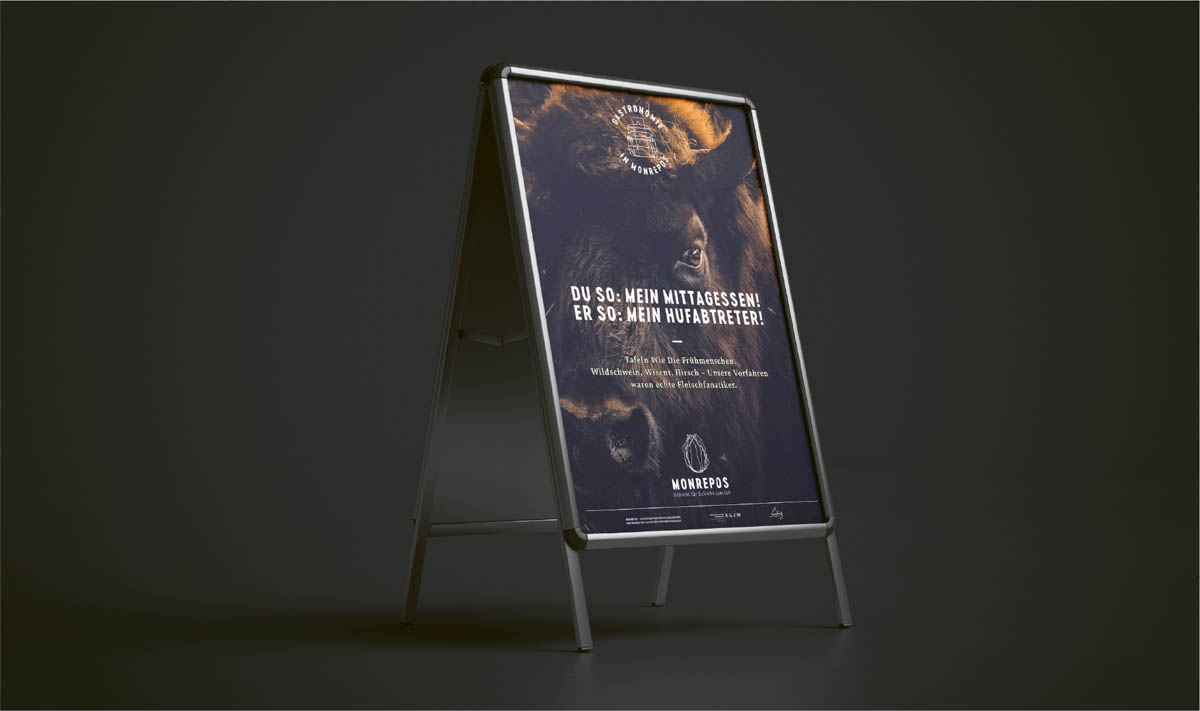 Plakate für das Restaurant im Museum Monrepos Neuwied